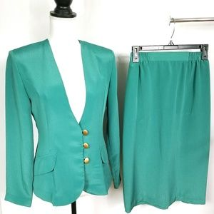 Vintage Andrea Gayle Emerald Green Skirt Suit